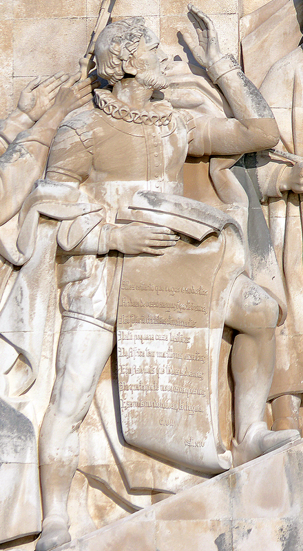 Effigy of Luis de Camoes on the Monument to the Discoveries, in Lisbon, Portugal. Luis de Camoes - Padrao dos Descobrimentos.png