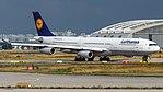 Lufthansa Airbus A340-300 (D-AIFD) at Frankfurt Airport.jpg