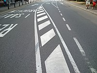 Luxembourg, road marking (10o surface de lignes obliques 1).jpg