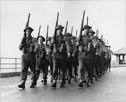 Soldiers from Luxembourg training in Britain, 1943. Luxembourg Troops Fight With United Nations- Training With the Belgian Army in England, UK, 1943 D16778.jpg