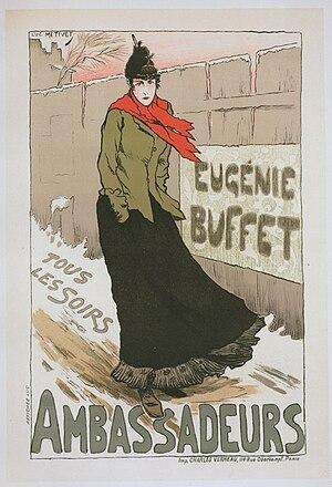 Eugénie Buffet - Eugénie Buffet at Les Ambassadeurs in 1896, by artist Lucien Métivet