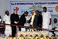 M. Hamid Ansari being received on dais during the Valedictory function of the Toc H International Centenary celebrations, at Vyttila, Kochi, in Kerala. The Governor of Kerala, Shri Justice P. Sathasivam is also seen.jpg
