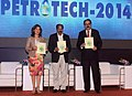 "M. Veerappa Moily releasing the ""CARBON NEUTRALITY INITIATIVE"" during the 11th International Oil & Gas Conference and Exhibition – PETROTECH-2014, in Noida, Uttar Pradesh. The CMD, ONGC, Shri Sudhir Vasudeva is also seen.jpg"