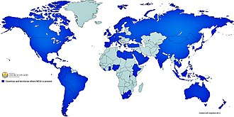 Members Church of God International - In blue are countries and territories where Members Church of God International (MCGI) is present as of 2015.