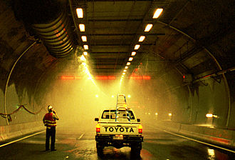 Burnley Tunnel - Fire suppression system test before tunnel opening in December 2000
