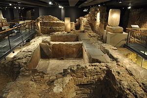 Barcelona City History Museum - Remains of an ancient Roman salted fish and garum factory in the archaeological underground (MUHBA Plaça del Rei)