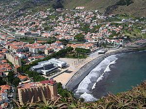View to Machico in Madeira, Blick auf Machico ...
