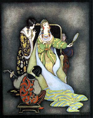 Queen (Snow White) - The queen with her mirror, from 2011's My Book of Favourite Fairy Tales (illustrated by Jennie Harbour)