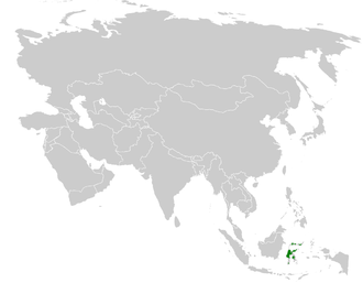 Malia (bird) - Image: Malia grata distribution map