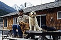 Man and dogs at Ross Lake Resort, circa 1990 (48876285247).jpg