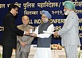 Manmohan Singh presented the Police Medal, at the All India Conference of Directors GeneralInspectors General of Police -2012, in New Delhi. The Union Home Minister, Shri Sushil Kumar Shinde and the Director (1).jpg