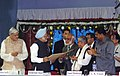 Manmohan Singh receiving the Honorary Doctorate Degree from Dr. M.G.K.Menon, the President Council of the Indian Standard Instituite, at the inauguration of Platinum Jubilee Celebrations of Indian Statiscal Institute.jpg