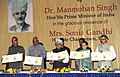 Manmohan Singh releasing a commemorative postage stamp on Shair-e-Kashmir Peerzada Ghulam Ahmad Mehjoor, at a function, in Srinagar. The Chairperson, National Advisory Council, Smt. Sonia Gandhi.jpg
