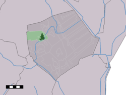 The town centre (dark green) and the statistical district (light green) of Borger in the municipality of Borger-Odoorn.