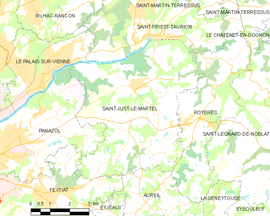Mapa obce Saint-Just-le-Martel