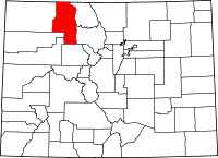 Map of Colorado highlighting Routt County