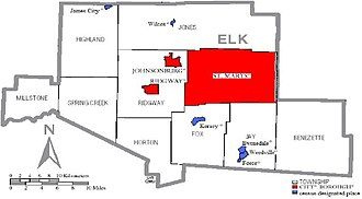 Elk County, Pennsylvania - Image: Map of Elk County Municipalities shaded in red and blue