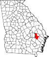 Map of Georgia highlighting Tattnall County.svg