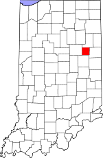 Blackford County  Comitatul Blackford pe harta statului Indiana