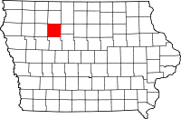 Map of Iowa highlighting Pocahontas County