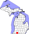 State map highlighting St. Joseph County