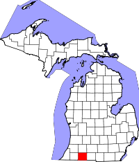 Map of Michigan highlighting Saint Joseph County