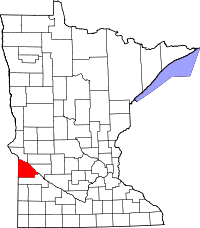 Map of Minnesota highlighting Lac qui Parle County
