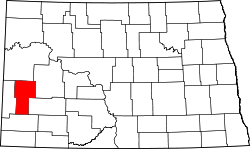 map of North Dakota highlighting Billings County