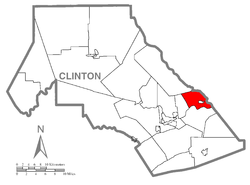 Map of Clinton County, Pennsylvania highlighting Pine Creek Township