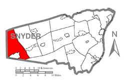 Map of Snyder County, Pennsylvania highlighting West Beaver Township