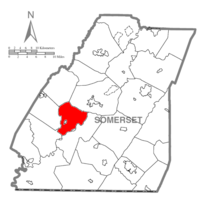 Map of Somerset County, Pennsylvania Highlighting Milford Township