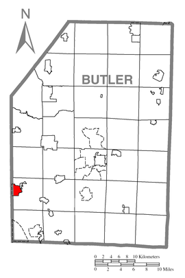 Map of Zelienople, Butler County, Pennsylvania Highlighted.png