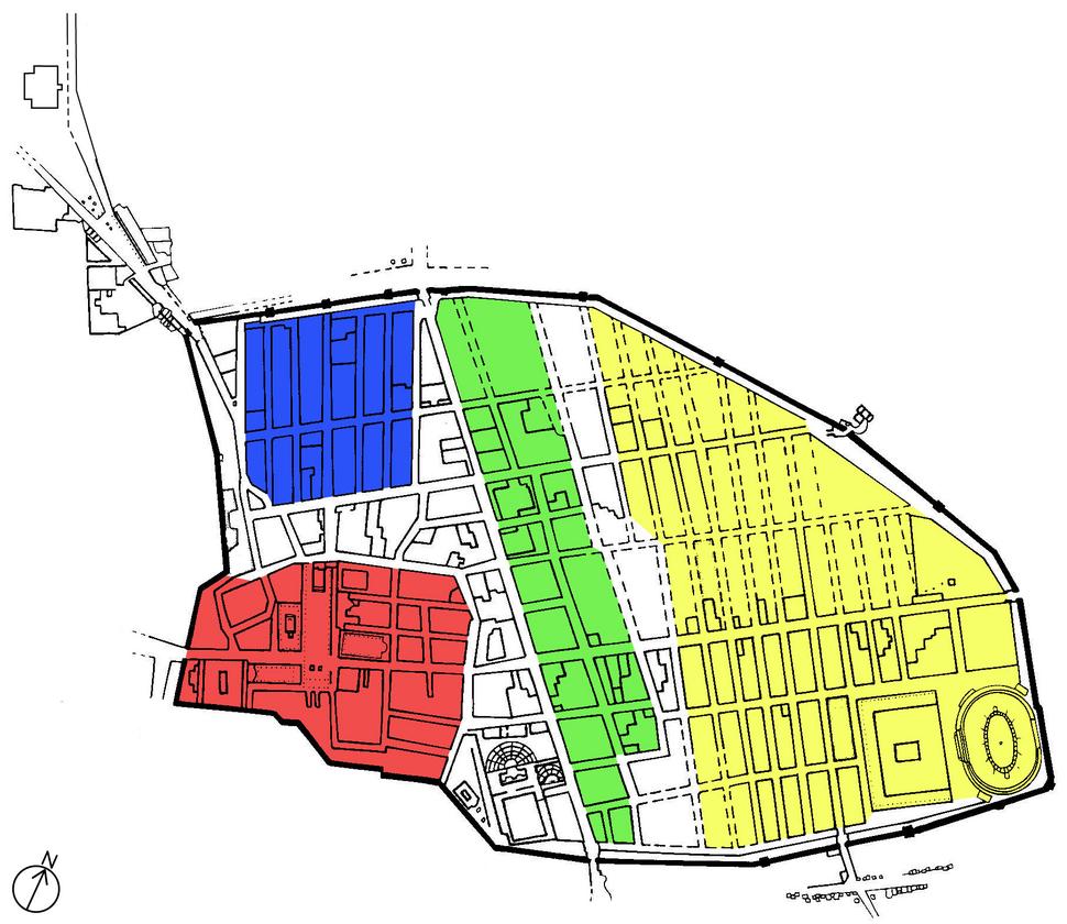 Map of setteling phases of Pompeii