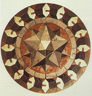 Small stellated dodecahedron - Floor mosaic by Paolo Uccello, 1430