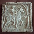 Marble relief, rider and a snake on tree, Late Roman Age, AM Varna, Varm44.jpg