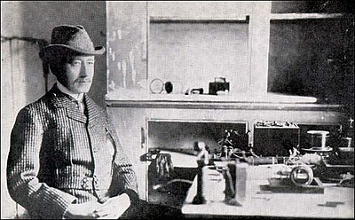 Marconi at Signal Hill with instruments used to receive the first Transatlantic signals - December 1901.jpg