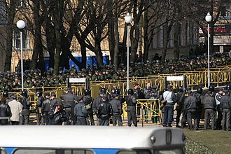 Dissenters' March - Some of the 3000 police officers cordoning off the square in Saint Petersburg