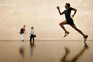 Martin Creed - Work No. 850 an athlete running through Tate Britain gallery