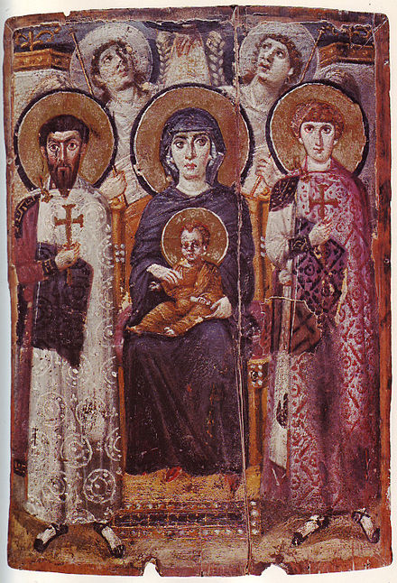 Icon of the enthroned Virgin and Child with saints George, Theodore and angels, 6th century, Saint Catherine's Monastery. Mary & Child Icon Sinai 6th century.jpg