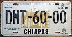 https://upload.wikimedia.org/wikipedia/commons/thumb/9/95/Matr%C3%ADcula_automovil%C3%ADstica_M%C3%A9xico_2003_Chiapas_DMT-60-00.jpg/240px-Matr%C3%ADcula_automovil%C3%ADstica_M%C3%A9xico_2003_Chiapas_DMT-60-00.jpg