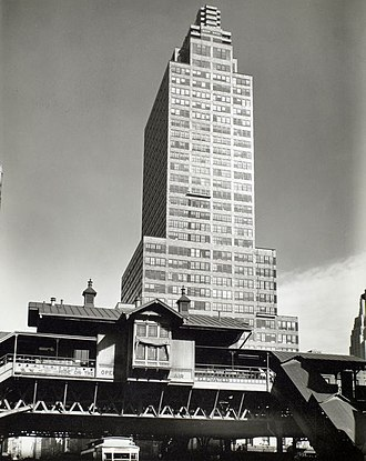 42nd Street (IRT Ninth Avenue Line) - The 42nd Street station with the McGraw Hill Building in the background