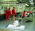 Mclaren MP4-10B - Mark Blundell in the pit garage at the 1995 British GP, Silverstone (49713881802).jpg