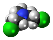 Space-filling model of the chlormethine molecule