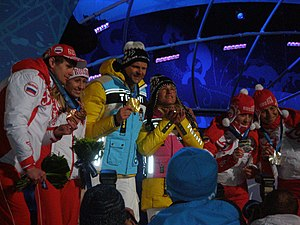 Biathlon at the 2010 Winter Paralympics - Image: Medalists for the Women's Visually Impaired Biathlon, their guides also get medals!