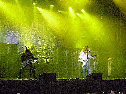 David Ellefson and Dave Mustaine performing at the Norway Rock Festival in July 2010. Megadeth Live-Norway Rock 2010.jpg