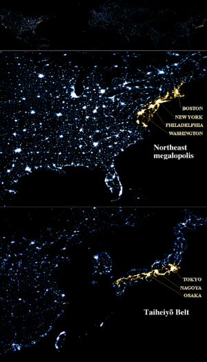 Taiheiyō Belt - A nighttime satellite photo comparison (to scale) of the Northeast Megalopolis in the United States (top) and the Taiheiyō Belt (bottom).