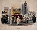 Members of different brotherhoods carrying a coffin during a Wellcome V0042327.jpg