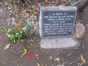 Kruger National Park - Plaque in the park. Now and then people do get killed, however, this is extremely rare.
