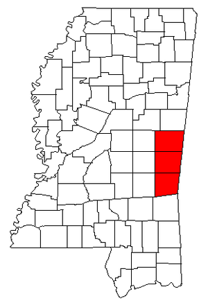 Meridian micropolitan area - Map of Mississippi highlighting the Meridian micropolitan area.