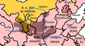 Ordos Plateau - Provincial boundaries. The Loess Plateau is shaded. The yellow area is Inner Mongolia and Ningxia.